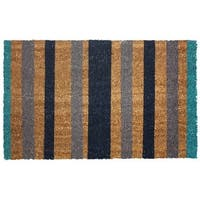 J and M Home Fashions  Vinyl Back Coco Doormat, 18 x 30 In., Blue Stripes