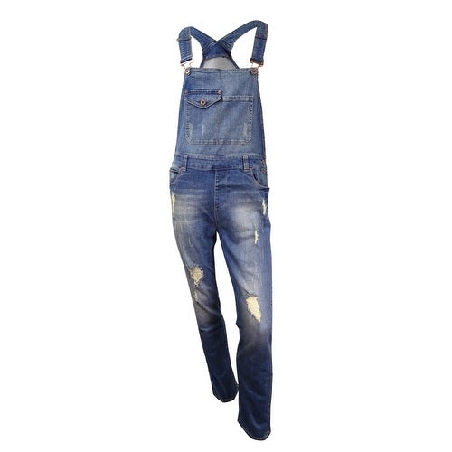 d3e8895d2ae Shop American Rag Men s Distressed Denim Overalls (Medium Wash