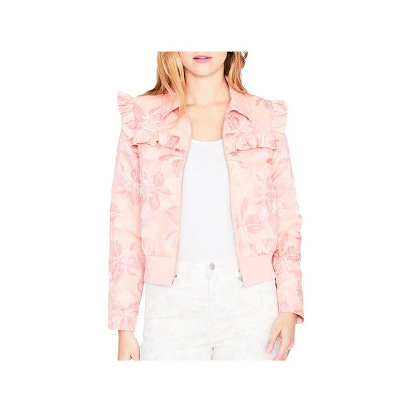 RACHEL Rachel Roy Womens Spring Ruffled Denim Jacket