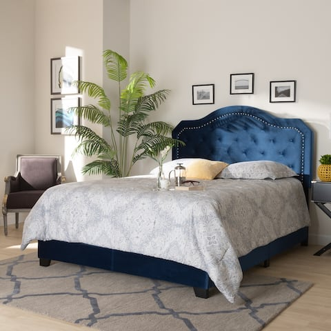 Samantha Modern and Contemporary Navy Blue Velvet Fabric Upholstered Queen Size Button Tufted Bed