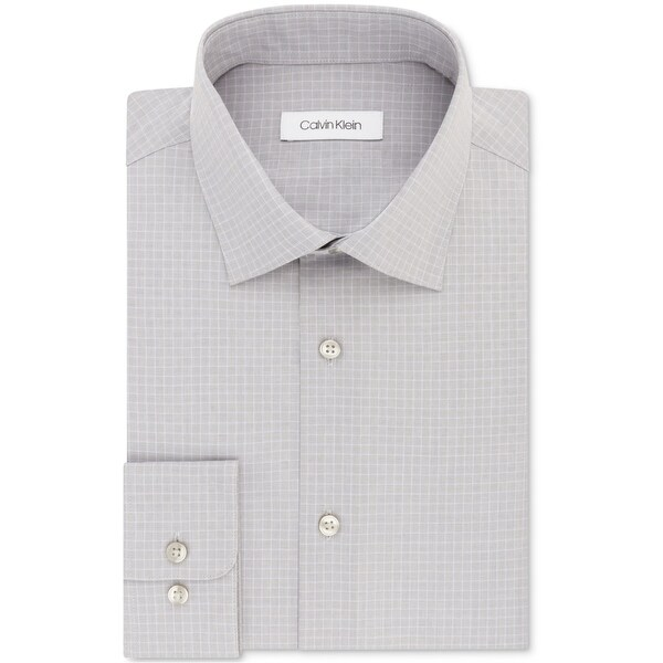 Calvin Klein Mens Steel Regular Fit Button Up Dress Shirt