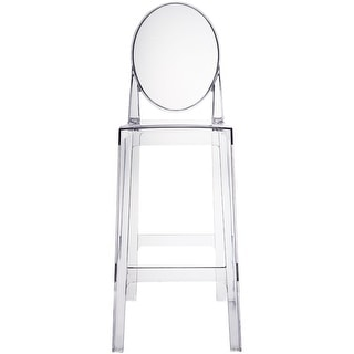 """2xhome - Clear - 30"""" Seat Height Barstool Modern Plastic Side Bar Stool Counter Stool - Accent Stool Lounge No Arms Armless"""
