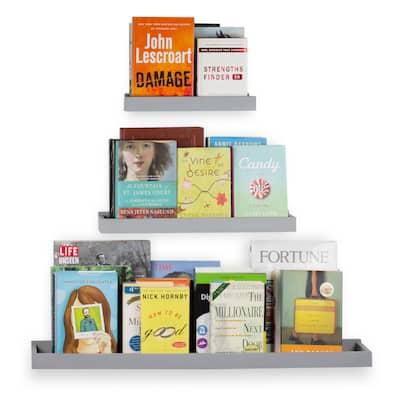 Wallniture Philly Floating Shelves for Nursery Decor, Grey Bookshelf (Set of 3) - Gray