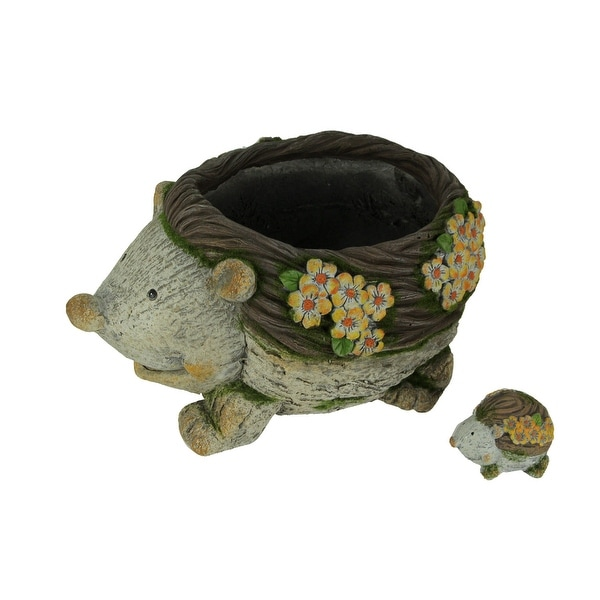 Critter Garden Hedgehog Planter with Mini Statue Set - 8 X 14 X 10.5 inches