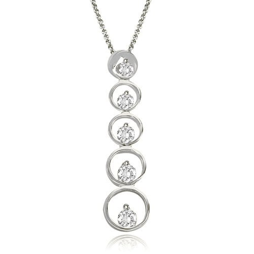1.00 cttw. 14K White Gold Round Cut Diamond Five-Stone Journey Pendant