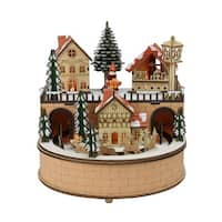 "8.75"" Rustic Wooden Laser Cut Musical Animated Village Christmas Table Top Decoration - brown"