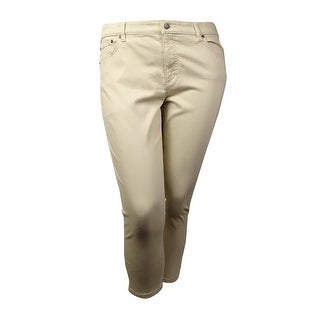 LRL Lauren Jeans Co. Women's Solid Classic Straight Cropped Pants (16, Cream) - 16