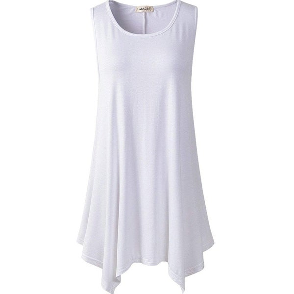 bec4f7900a2 Shop LARACE White Women's Size 2X Plus Sleeveless Flowy Summer Tunic - Free  Shipping On Orders Over $45 - Overstock - 27186342