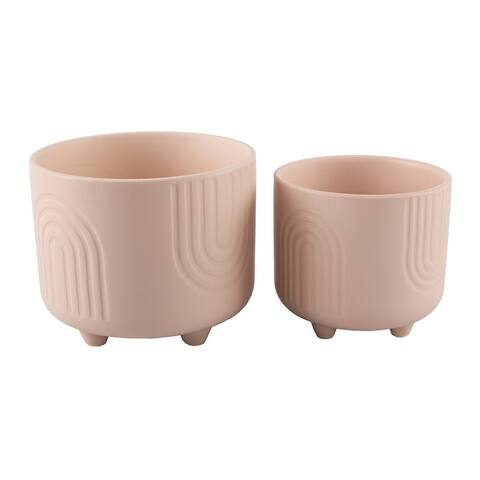 6IN & 4.75 IN Rainbow Ceramic Footed Planter, SET OF 2