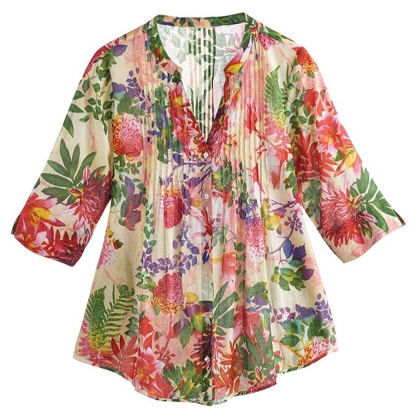 Women's Tunic Top- Floral Printed Dreams 3/4 Sleeve Cotton Blouse
