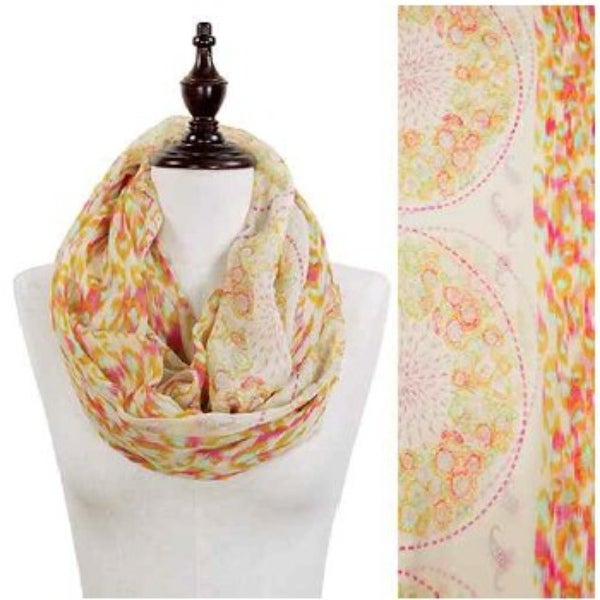 2d03681f864 Animal And Floral Print Infinity Scarf-Beige