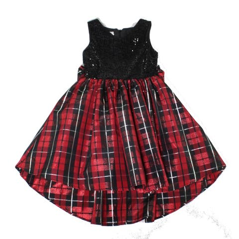 Pippa & Julie Girls Dresses Red Size 10 Sequined Plaid-Print Shimmer