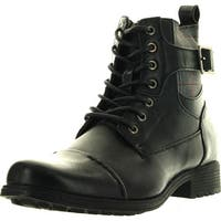 Arider Bull-03 Mens Lace-Up Boots With Side Buckle Embellishment