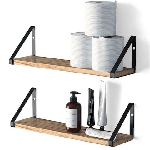 "Wallniture Ponza 17"" Wood Floating Shelves for Wall, Rustic Decor (Set of 2)"