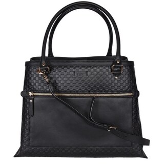 """Gucci Women's 510290 Black Leather Micro GG Large Purse Handbag Tote W/Strap - 16"""" (at bottom)/12.5"""" (at top) x 12"""" x 9"""""""