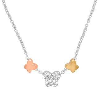 Crystaluxe Butterfly Trio Necklace with Swarovski Crystals in Sterling Silver & 14K Gold-Plated Bronze - White