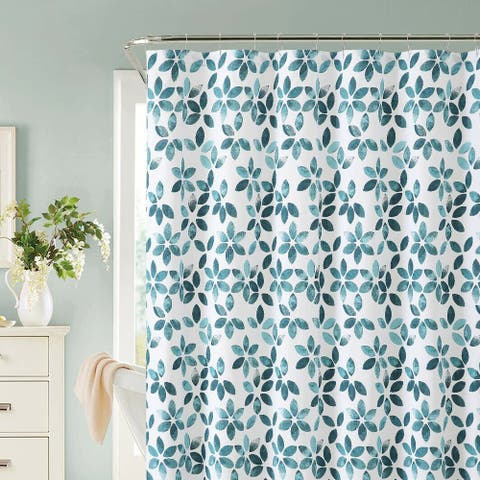Shabby Watercolor Floral 100% Cotton Fabric Shower Curtain - Teal