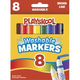 Playskool Washable Broadline Markers, Assorted Colors, Set of 10