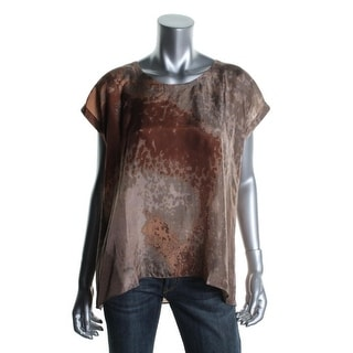 Eileen Fisher Womens Petites Silk Snake Print Pullover Top - pp