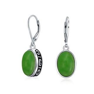 Bling Jewelry Oval Genuine Jade Gemstone Leverback Earrings in 925 Sterling Silver