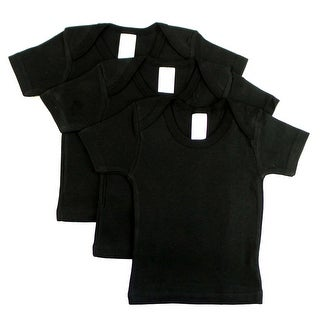 Black Short Sleeve Lap Shirt (Pack of 3) (Black, 18-24)