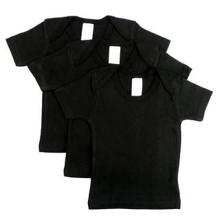 Black Short Sleeve Lap Shirt (Pack of 3) (Black, 6-12)