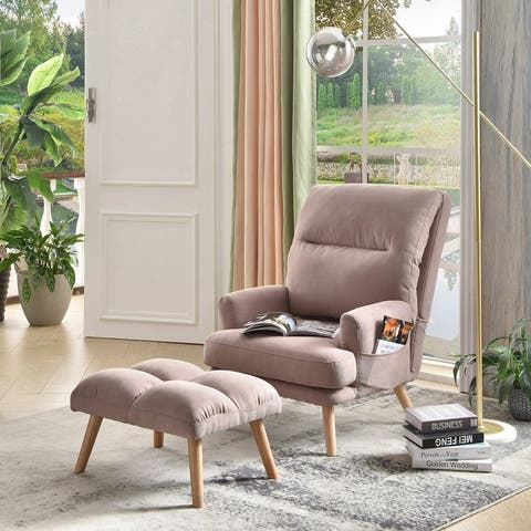 Ovios Velvet Recliner Chair with Ottoman