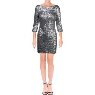 Aqua Womens Cocktail Dress Sequined Knee-Length