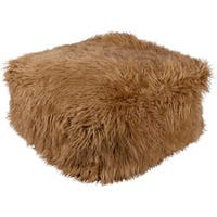 "24"" Light Brown Faux Fur Indoor Square Pouf Ottoman with Knife Edge"