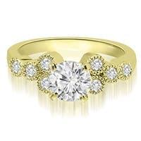 1.07 cttw. 14K Yellow Gold Milgrain Round Cut Cluster Diamond Engagement Ring