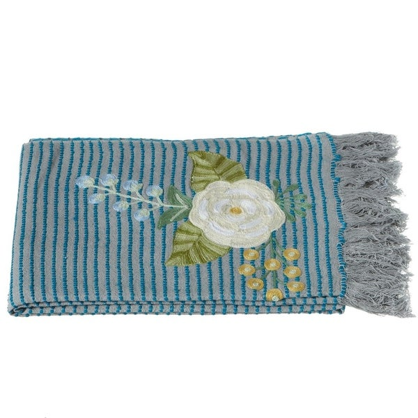 "60"" Blue and Gray Striped Floral Embroidered Cotton Throw Blanket with Fringed Border"