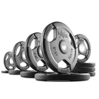 XMark rubber coated tri-grip Olympic weight plates - 185 lbs. = (2) 45 lb. (2) 25 lb. (2) 10 lb. (4) 5 lb. & (2) 2.5 lb. plates.