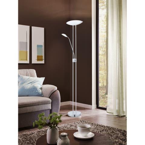 Eglo Baya 1 3-light Chrome Floor Lamp With Adjustable Reading Lamp