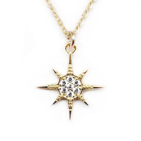 """Julieta Jewelry CZ Sunburst Gold Charm 16"""" Necklace"""