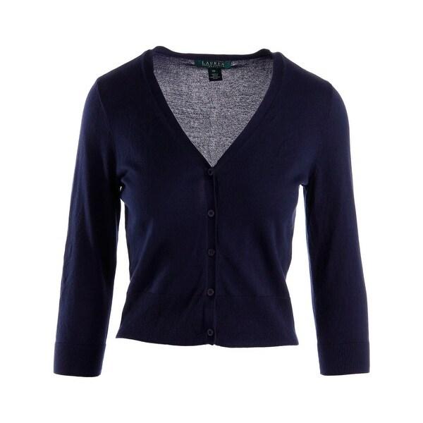 Lauren Ralph Lauren Womens Cardigan Sweater Knit Button-Front
