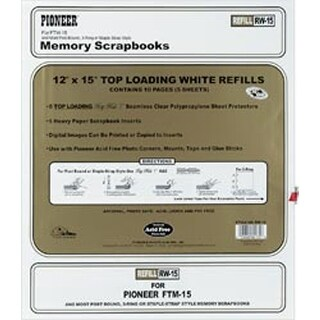 """12""""X15"""" (W/White Inserts) - Post Bound Top-Loading Page Protectors 5/Pkg"""