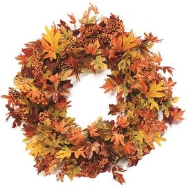 "32"" Autumn Harvest Decorative Artificial Orange Green and Gold Berries and Leaves Wreath - Unlit"