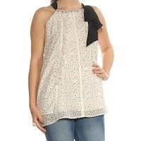 CYNTHIA ROWLEY Womens Ivory Tie Floral Sleeveless Jewel Neck Top  Size: S