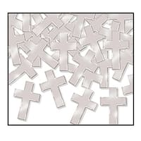 Club Pack of 12 Silver Fanci-Fetti Cross Celebration Confetti Bags 1 oz.