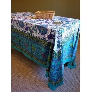 Handmade 100% Cotton Floral Tapestry Tablecloth Bedspread 60x88 Twin Full Aquamarine