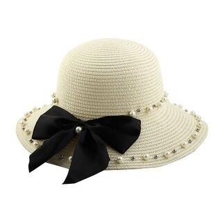 Women Lady Straw Imitation Pearl Decor Brimmed Beach Hat Topee Floppy Cap White