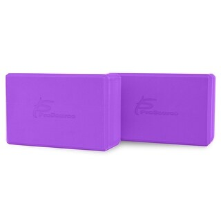 "ProsourceFit Set of 2 Foam Wedge Yoga Blocks Stretching Assistant High Density Large 9x6x4 - Purple - 9"" x 6"" x 4"""