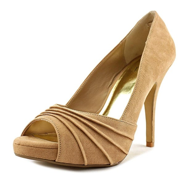 Thalia Sodi Marissa Women Peep-Toe Canvas Tan Heels