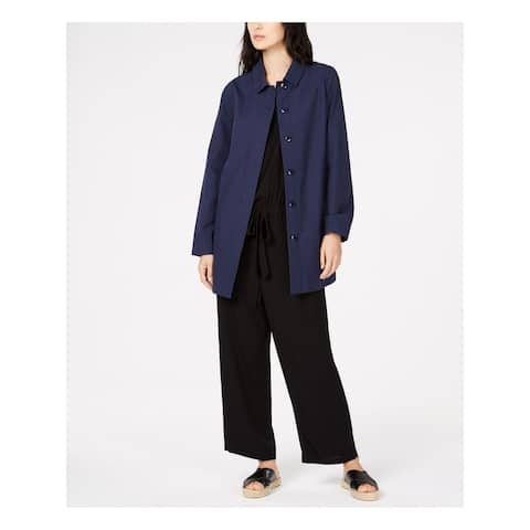 EILEEN FISHER Womens Navy Button Down Coat Petites Size: S
