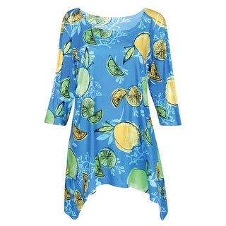 Women's Summer Fruit Tunic Top - Lemon/Limes Print 3/4 Sleeve Shirt