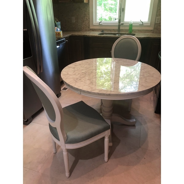 Furniture Of America Laine Country Style Faux Marble White Round Dining Table Customer Reviews