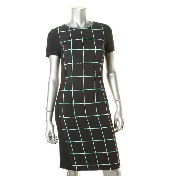 BOSS Hugo Boss Womens Wear to Work Dress Printed Short Sleeves