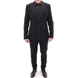 Dolce & Gabbana Black Striped Double Breasted Slim Fit Suit - it54-xl