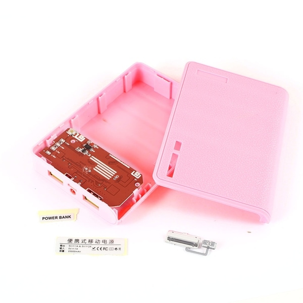 Unique Bargains Pink Plastic Power Bank USB 2.0 LED Light 18650 Battery Charger DIY Box
