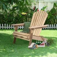 Costway Foldable Fir Wood Adirondack Chair Patio Deck Garden Outdoor